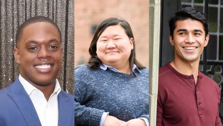 From left: Jaydin Knight, Amanda Kim, Jafar Sharipov