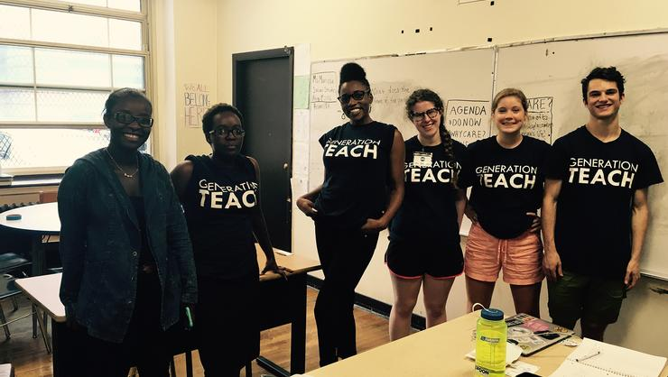 Mackenzie Doherty '18, second from right, and students at Generation Teach Summer Academy.