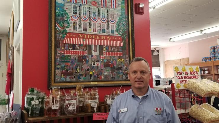 Don Vidler '78 in his family's five and dime store.
