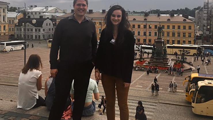 Prof. Seth Schermerhorn and Lillia McEnaney at Helsinki conference.