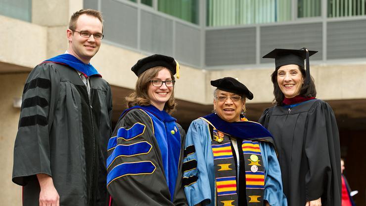 Professors Max Majireck, Courtney Gibbons, Shelley Haley and Susan Mason.