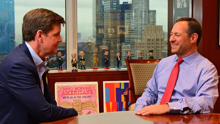 """Peter Groome '90 (left) and Eric Grossman '88 — joined by a few notable """"advisors"""" — meet in Grossman's Manhattan office a month after the SAM party made its debut at the ballot boxes."""