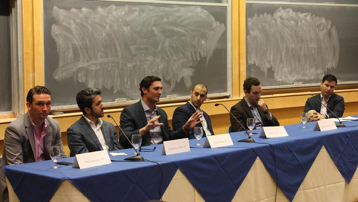 From left: Nikle Guzijan '09, Guillermo Artiles '07, John Porges '07, Paul Garaffo '05, Michael Signorelli '05 and Orges Llupa '05.
