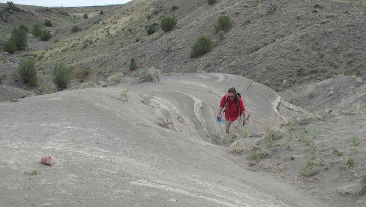 Geology student Ian Dunning '16 in Zuni Salt Lake, near Quemado, N.M.