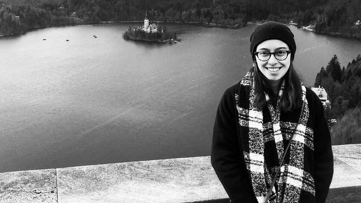 Emily Teichman '18 at Lake Bled in Bled, Slovenia, last fall.