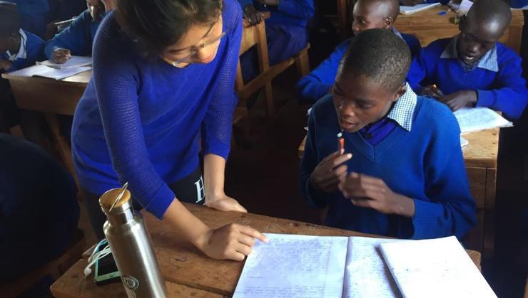 Emily Yong in a classroom in Kenya.