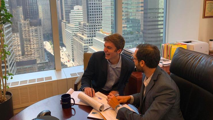 Craig Engert '21 (left) and Noah Ennis '11. Engert is an intern at Morgan Stanley in New York, where Ennis is a financial advisor.