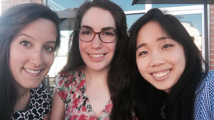 Audrey Nadler '18 (center) worked with Sofia Rachad '18 (left) and Erica Chen '19 over a summer researching how refugees in the nearby city of Utica adapt to American culture
