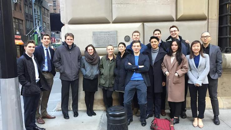 Hamilton students in the New York City Program pose in front of the Federal Reserve Bank.