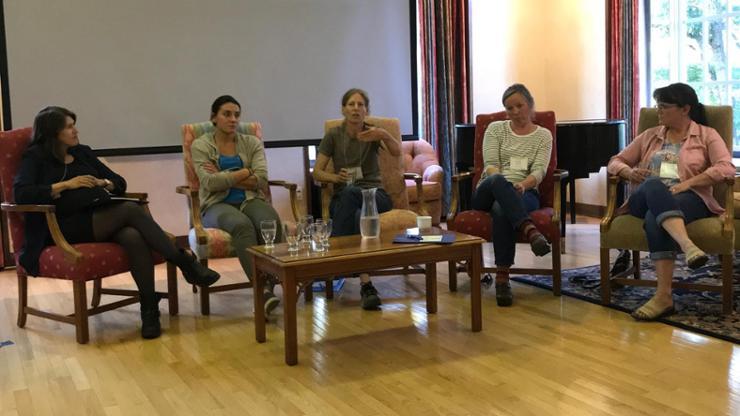 From left, Professor Alexandra Plakias, Lela Niemetz, Wendy Burkhart-Spiegel, Kelley Perrin, Suzie Jones.