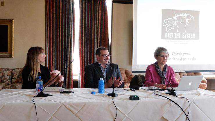 Panelists from left Margaret Gray, Evan Weissman and Clare Hinrichs.