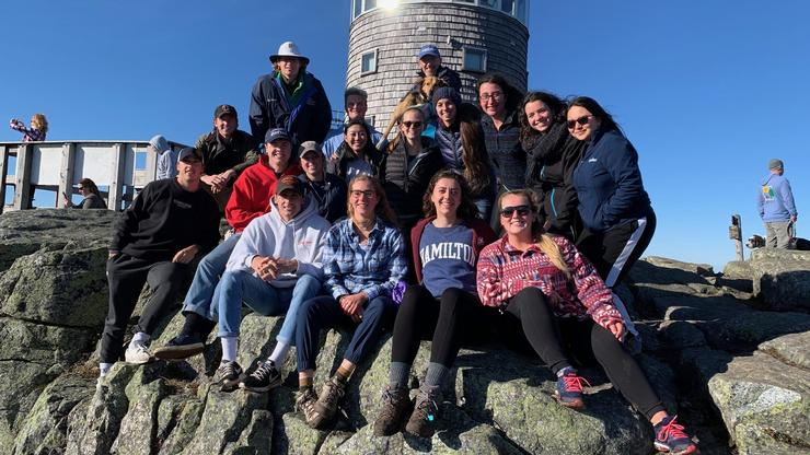 Students with Professor Oerlemans on top of Whiteface Mountain
