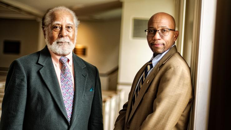 Alumnus Alfred Prettyman '56 and Todd Franklin, the Christian A. Johnson Excellence in Teaching Professor of Philosophy