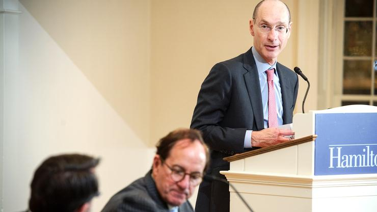 President David Wippman introduces the free speech panel. Professor of Government Robert Martin is in the foreground and Rodney Smolla, dean of Widener University Delaware Law School, is in the center.