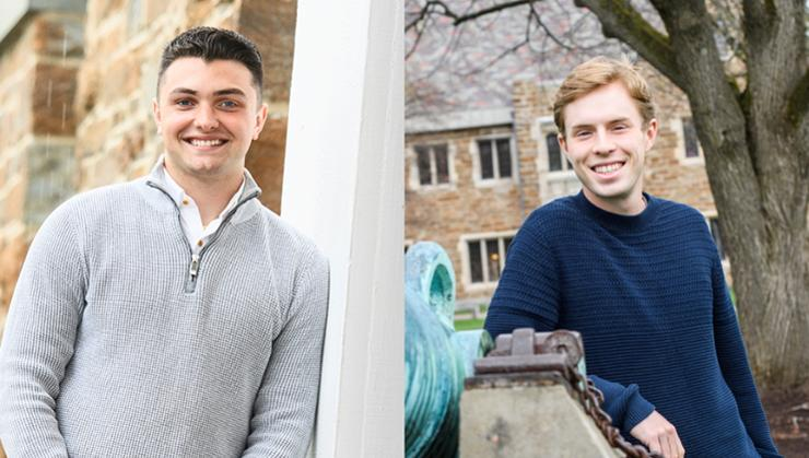 Gianni Hill '21 (left) and Tim Derby '21 have been awarded Fulbright English Teaching Assistantships to Spain.