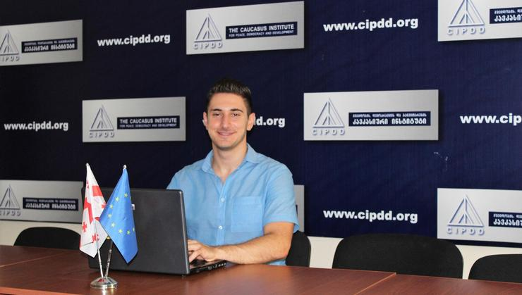 David Gagnidze '20 working at his internship at Caucasus Institute for Peace, Democracy and Development (CIPDD) in Tbilisi, Republic of Georgia.