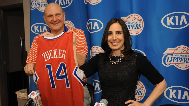 LA Clippers owner Steve Ballmer welcomes Gillian Zucker '90 to the team.
