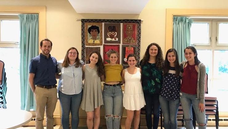 Mercedes Girona '20, 5th from left, with other interns at Rosie's Place in Boston.