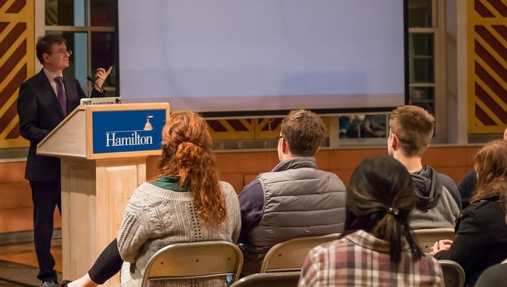 Glenn Kessler, manager of The Washington Post Fact Checker column, speaks at Hamilton.