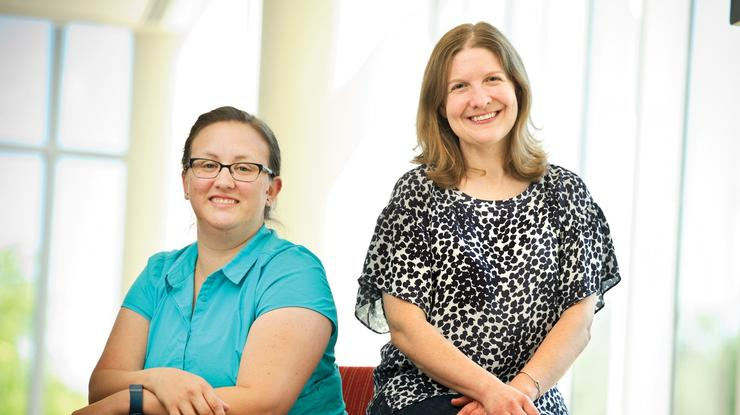 Director of the Oral Communication Center Amy Gaffney and Director of the Writing Center Jennifer Ambrose
