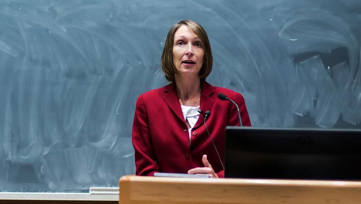 Janice Hauge '89 delivers the General Josiah Bunting III Veteran's Day lecture.