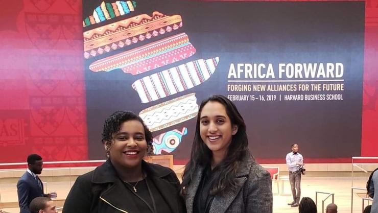 Fiker Haile '19 and Hersheena Rajaram '19 at African Business Conference