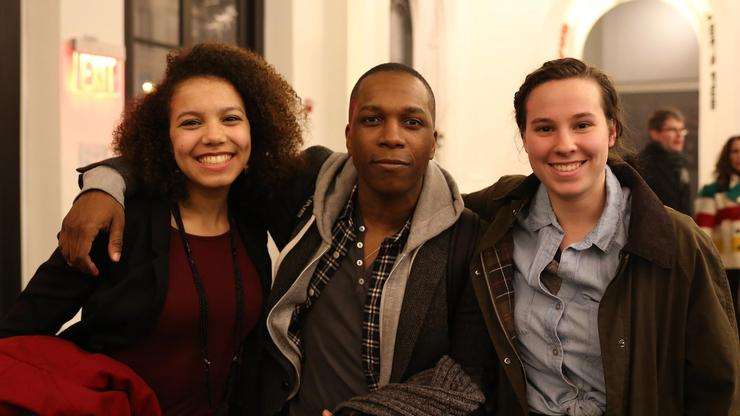 Aleta Brown, Leslie Odom, Jr. (the actor who played Aaron Burr), and Phoebe Greenwald in the lobby after watching Lin-Manuel Miranda's
