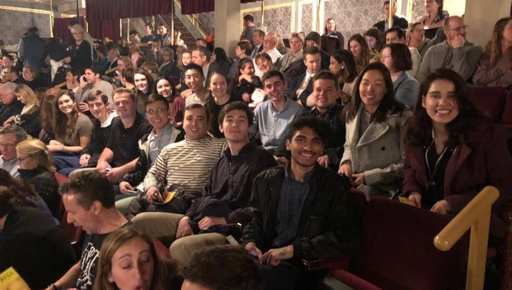 Students in the New York Program at the Richard Rogers Theatre for a performance of <em>Hamilton</em>.