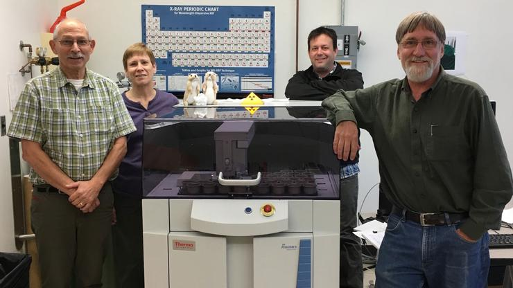 From Left: Technicians Rick Conrey and Laureen Wagoner, with professors Nathan Goodale and David Bailey.
