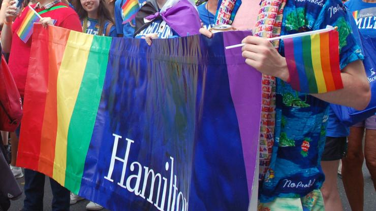 Hamilton students and alumni represented the College at the New York City Pride parade on June 24.
