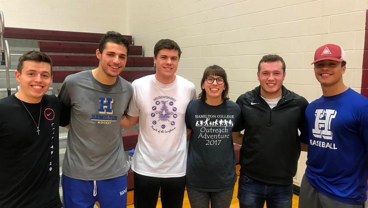 Hamilton students, from left: Kyle O'Connor '21, Matt Kasanoff '21, Zac Ball '20, Maggie Horne '19, Rich Marooney '21, Cam Morosky '22.