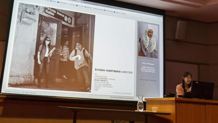 Susan Hartman K'74 discusses her work following refugees in Utica, N.Y., in a Hamilton lecture.