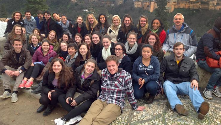Students in the Hamilton College Academic Year in Spain program visit El Mirador de San Nicolás, Granada.