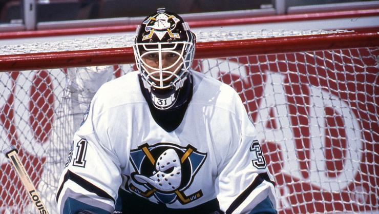 Guy Hebert '89 spent eight years as the Ducks starting goalie.
