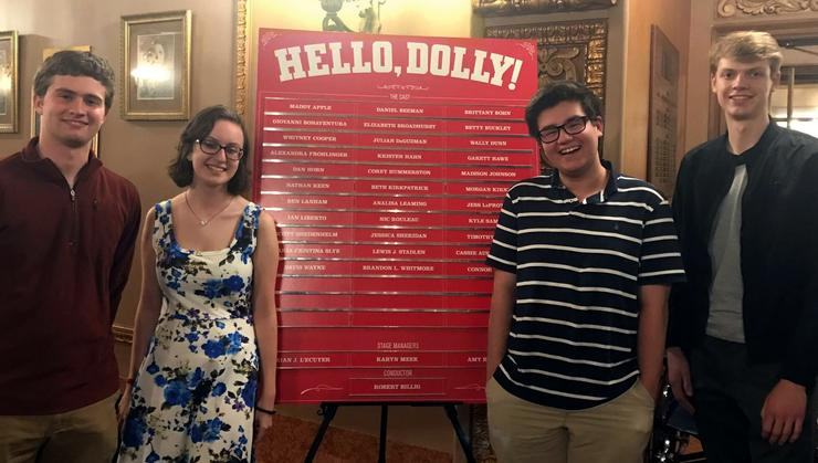 Eric Nahm '21, Erin Urbaniak '21, Aaron Simons '22, and Duncan Davies '21 at Hello Dolly at the Stanley Theater in Utica.