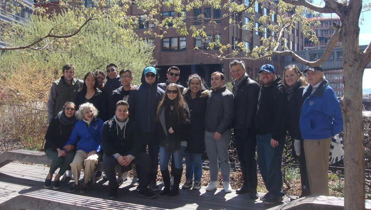 The New York City Program group with John Allen '60 and his wife Beth at the High Line.