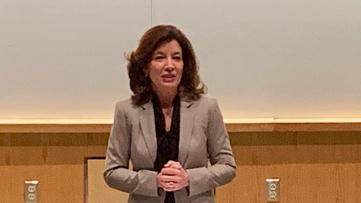 New York State Lieutenant Governor Kathy Hochul at Hamilton.