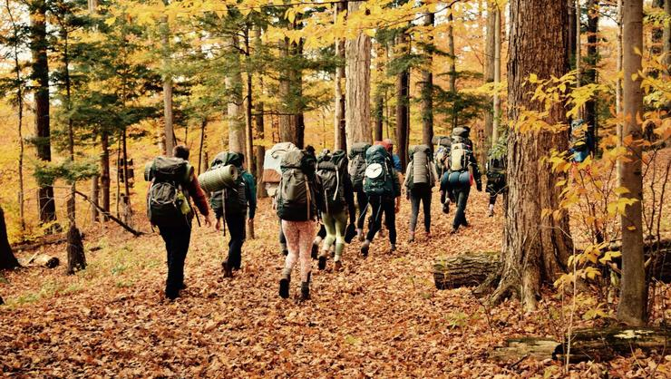 Participants in the HOC leader training course trek off into the Glen.
