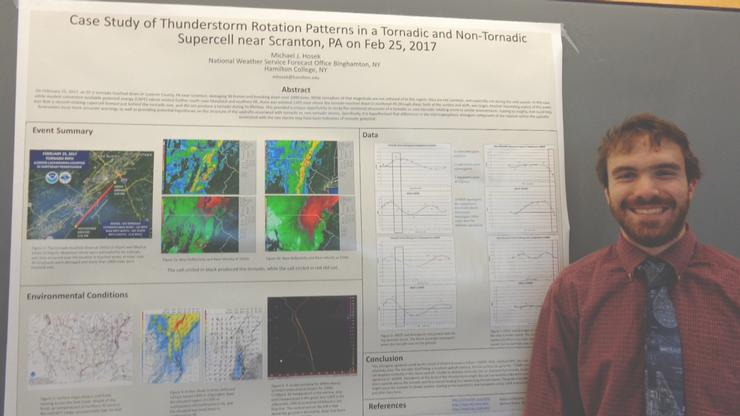 Michael Hosek '19 presented a poster at the American Meteorological Society Student Conference on Jan. 7.