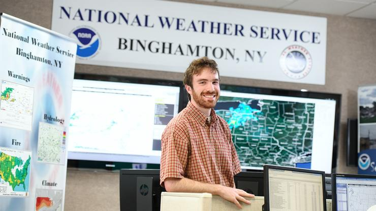 Michael Hosek '19 at the National Weather Service, where he is interning this summer.