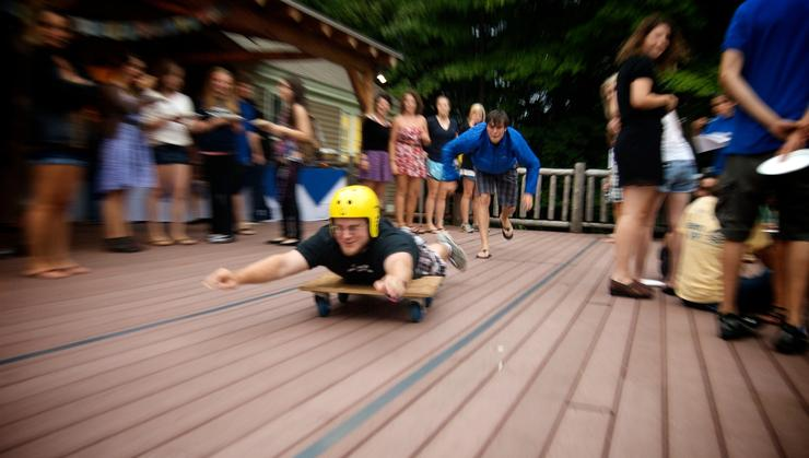 Human bowling was among activities at the Glen House's 5th birthday celebration.