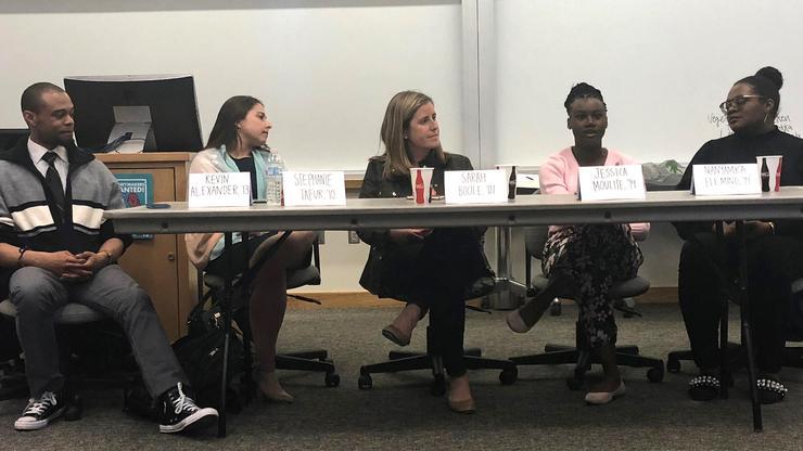 Alumni from left, Kevin Alexander '13, Stephanie Tafur '10, Sarah Boole '07, Jessica Moulite '14 and Nanyamka Fleming '14.