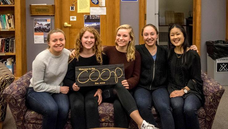 COOP's 2017-18 Senior Fellows, from left, Eleni Neyland, Sabrina Gattine, Katherine Spano, Sophie Dizengoff, and Hiromi Terai.