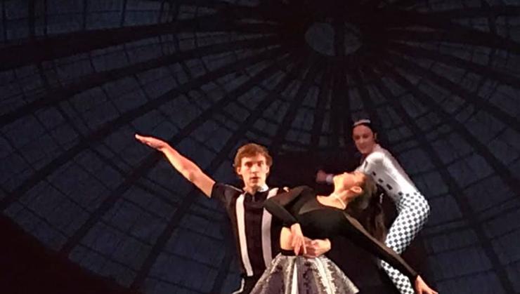Jackson Bedward '21, left, in a Hamilton dance production.
