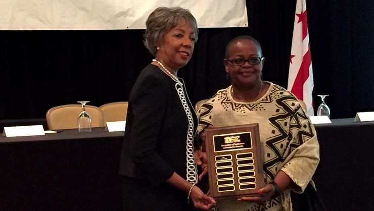 Phyllis Breland accepting the National Diversity Institution Award.