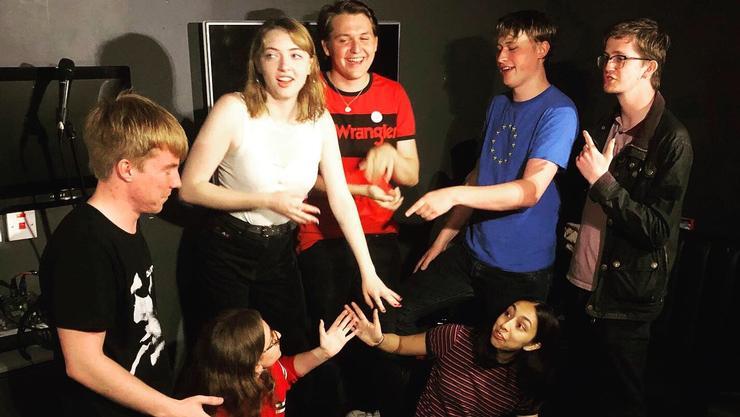 Jojo Rinehart-Jones '20, center, with other members of her comedy troupe in Edinburgh.