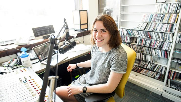 Isabel O'Malley '18 in the WHCL studio.