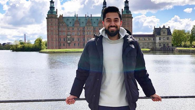 Ishan Bhatia '20 at Frederiksborg Castle in Hillerød, Denmark, where he studied in 2019.