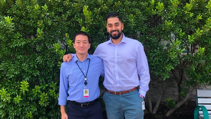 Ishan Bhatia '20, right, with Dr. James Moon, a principal investigator in Immunology at Mass. General Hospital and assistant professor of medicine at Harvard Medical School.