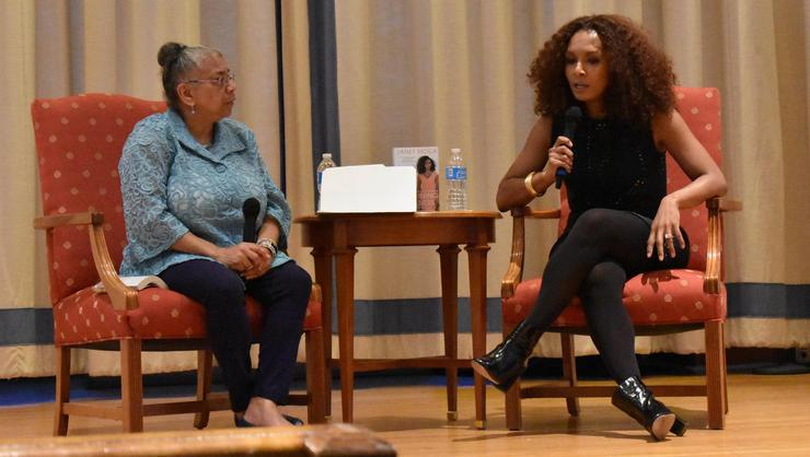 Transgender rights advocate Janet Mock, right, answers a question from moderator professor Shelley Haley in the Chapel.